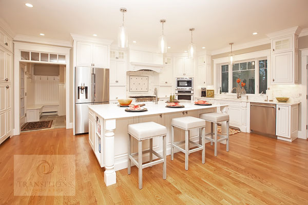 White traditional kitchen design with large island.