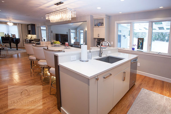 Contemporary kitchen design with T-shaped island.