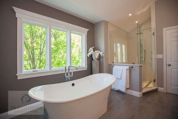 Bath design with freestanding tub and large shower.