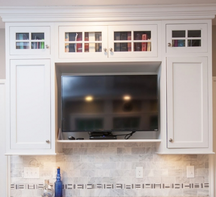 Kitchen design with built in TV