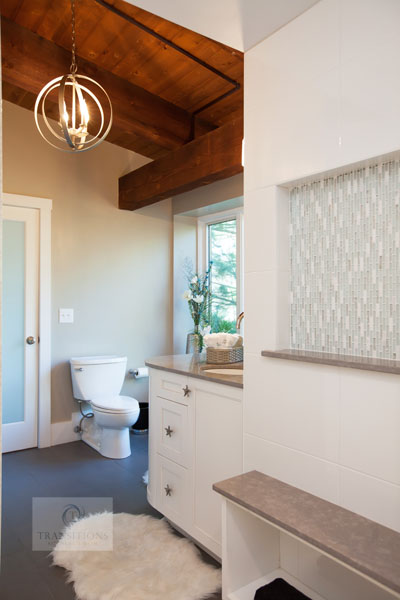 Contemporary bathroom design with two-piece toilet