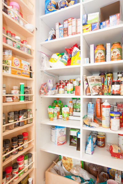 kitchen design with pantry and spice storage