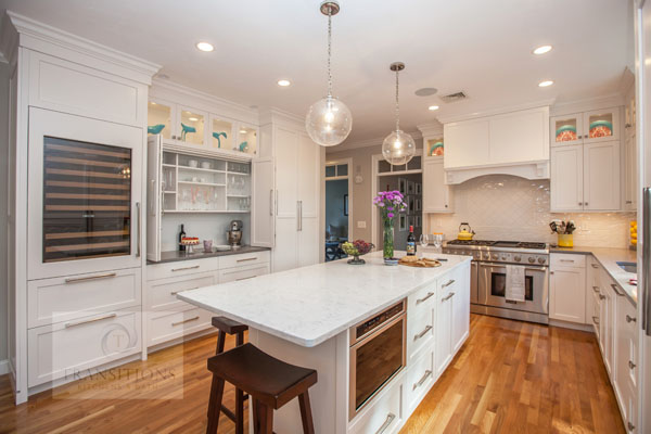 kitchen design with mantel style hood
