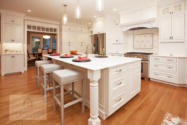 kitchen design with large mantel hood