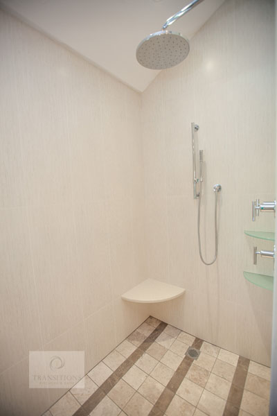 Shower design with rainfall and slidebar showerheads