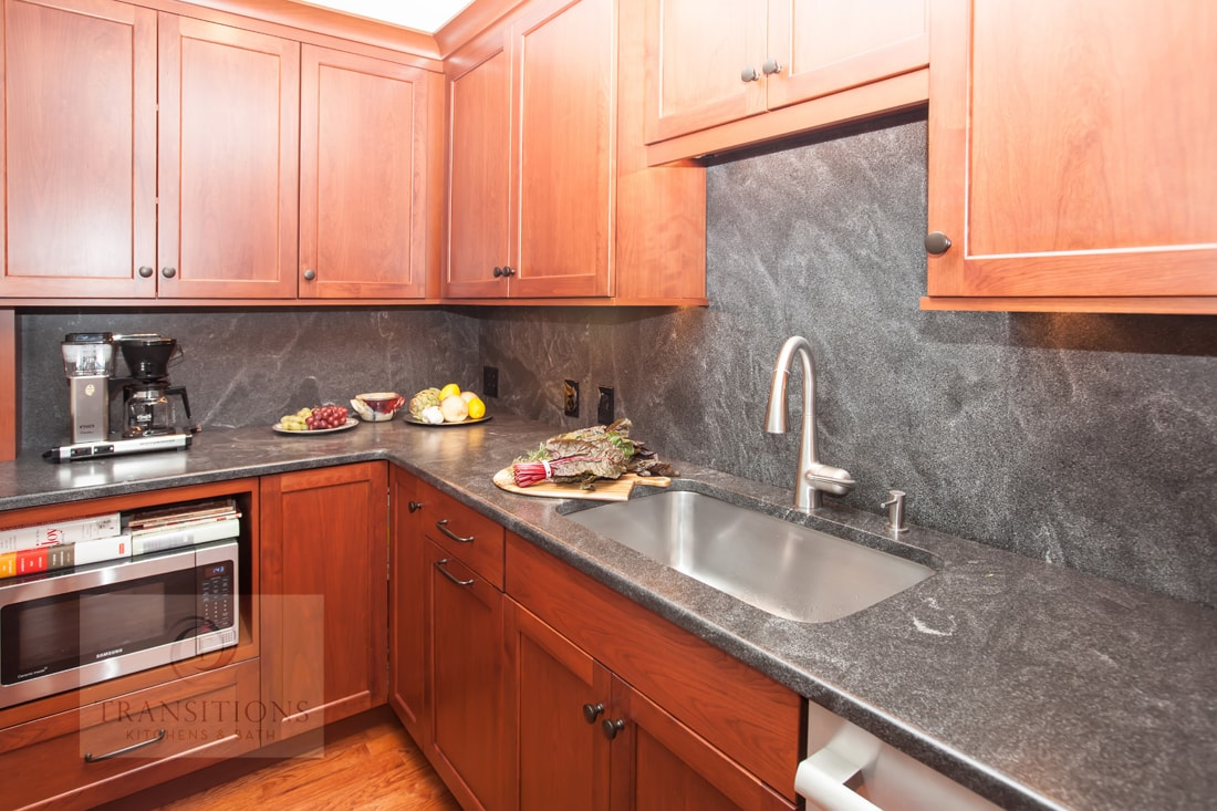 Kitchen design with stainless steel sink