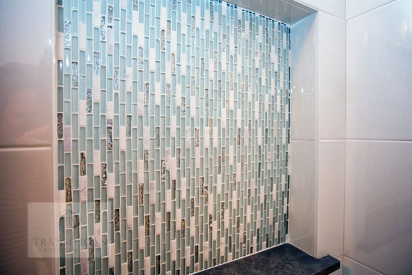 mosaic tile shower niche