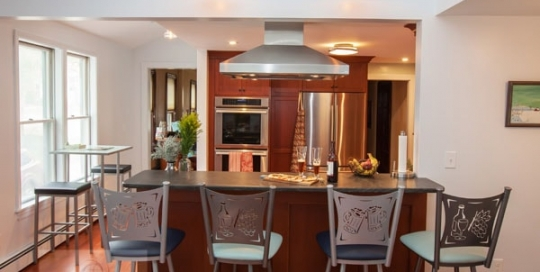 kitchen design with barstools