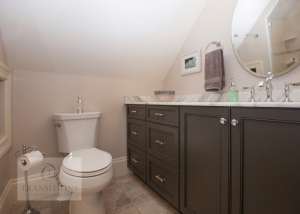 Hall bathroom design with two-piece toilet