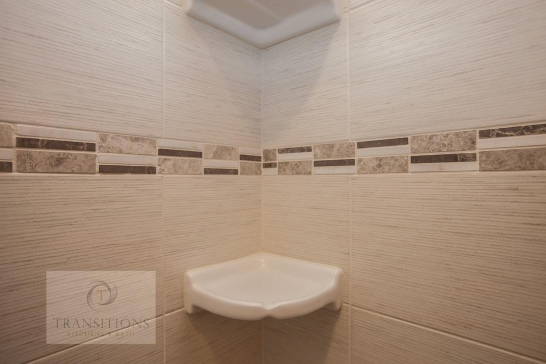 Shower with corner shelf