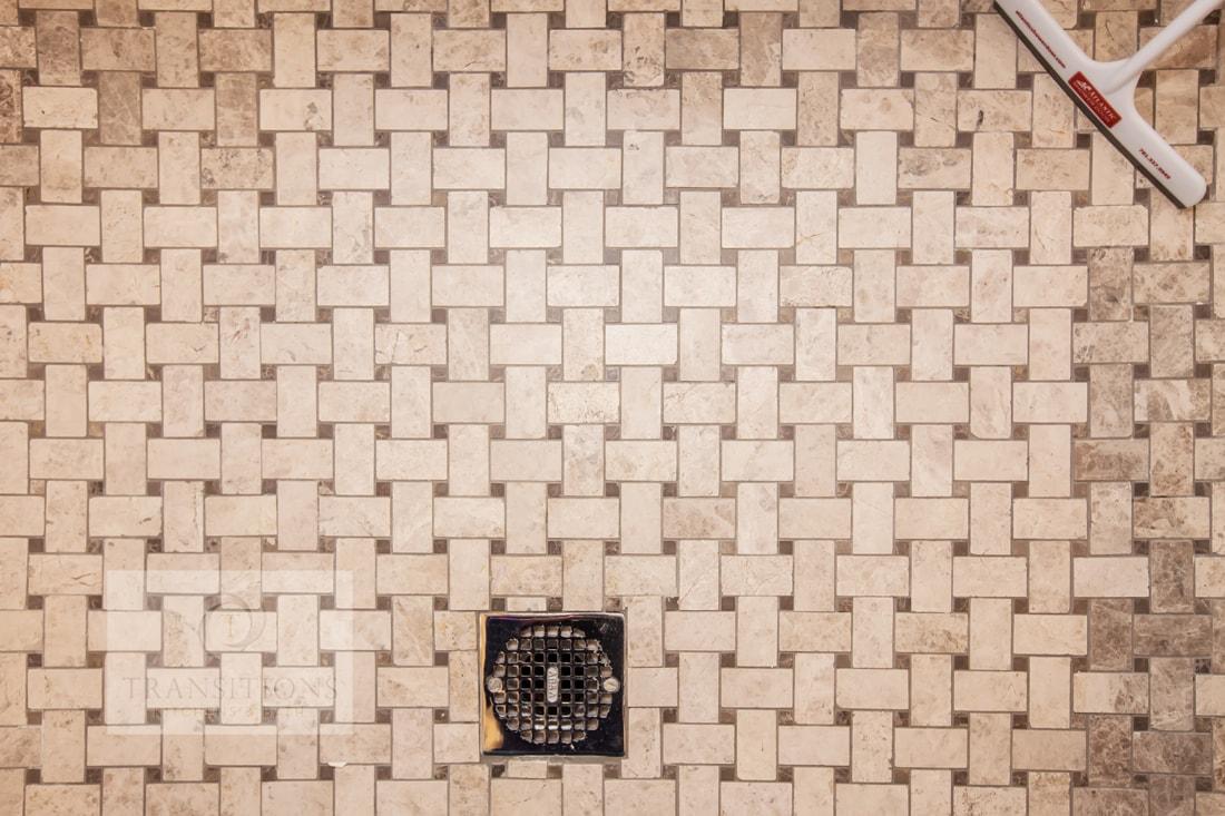 Basket weave design shower floor
