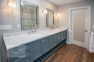 Vanity cabinet with two sinks