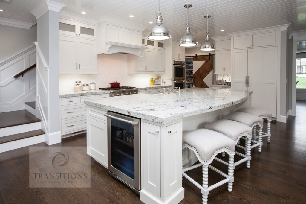 Kitchen design with undercounter refrigerator