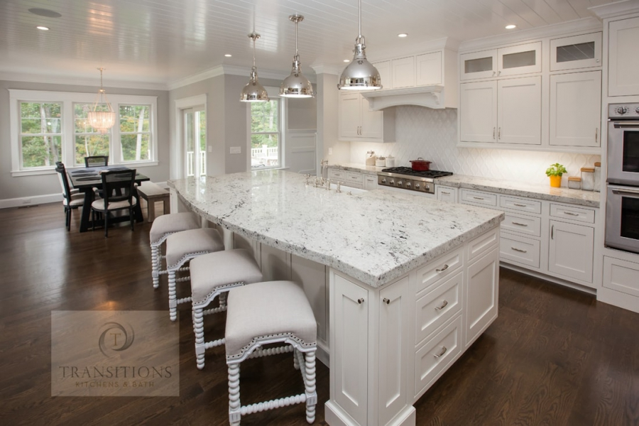 white kitchen design with hardwood floors