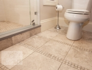Small bath design with floor tile