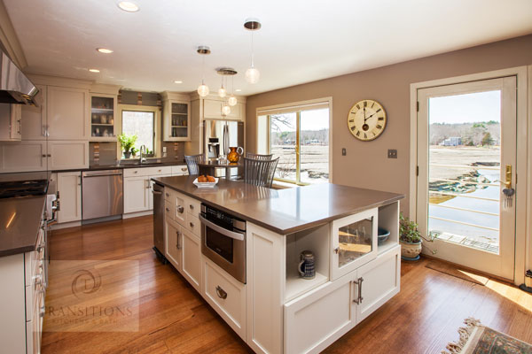 white kitchen design with contrasting countertop