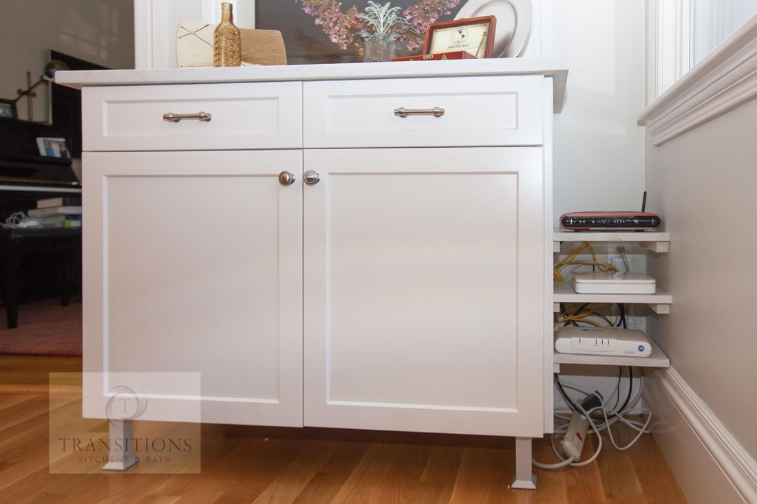 kitchen cabinet with electronics storage