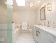master bath design with closed and open storage