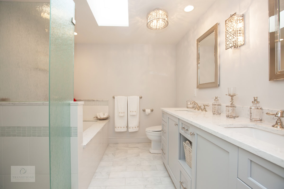 master bath design with gray vanity cabinet