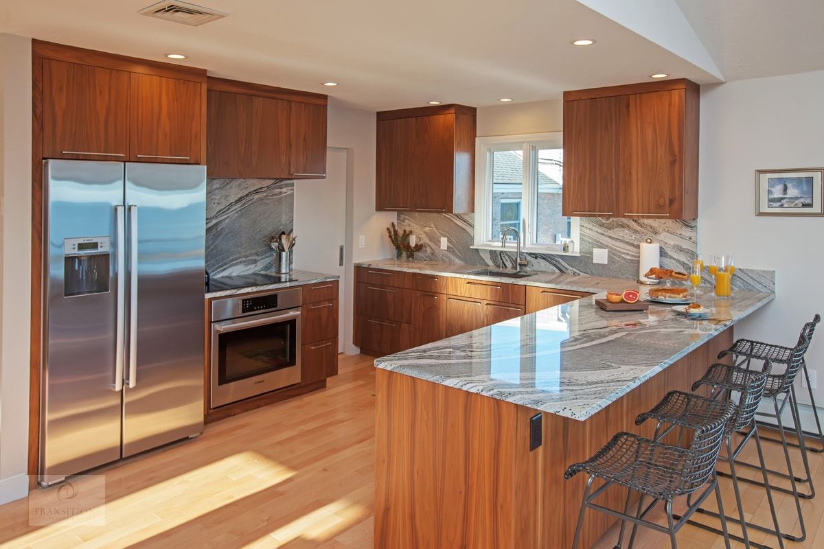 kitchen design with wood finish cabinets
