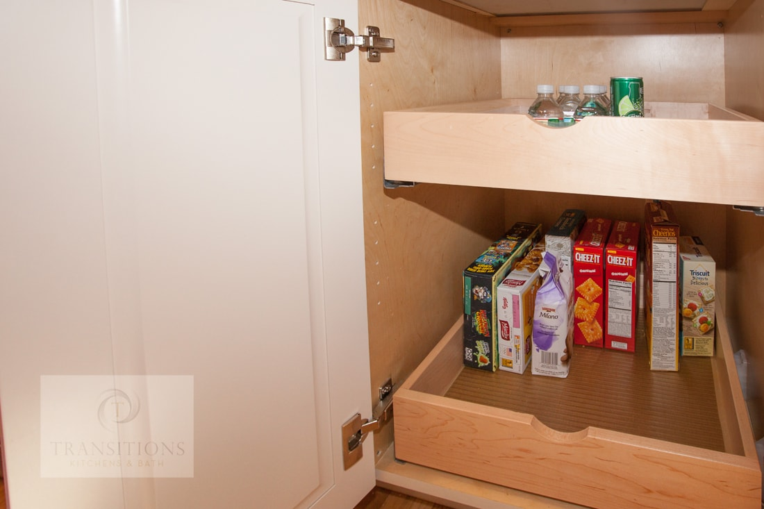 kitchen pantry with roll out shelves