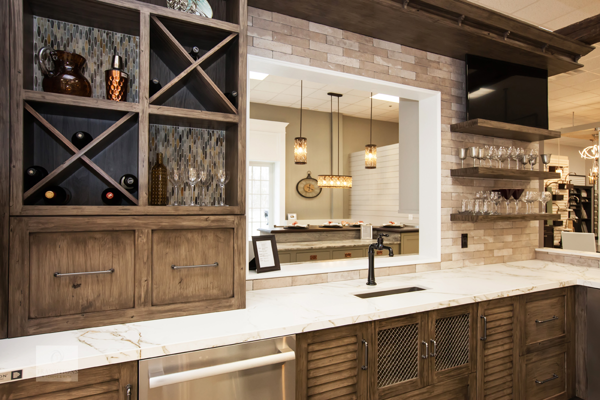 kitchen display with open shelves
