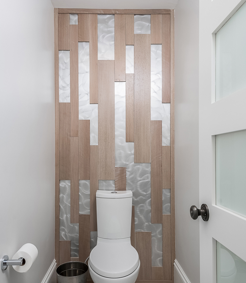 toilet compartment with feature wall