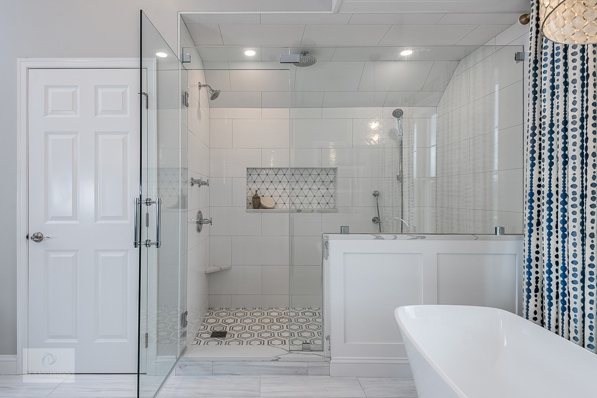 large shower with frameless glass shower enclosure