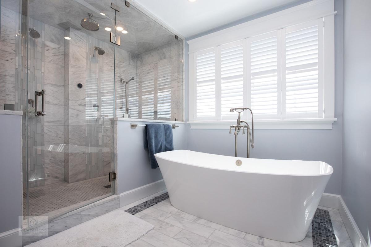 freestanding tub and large shower design