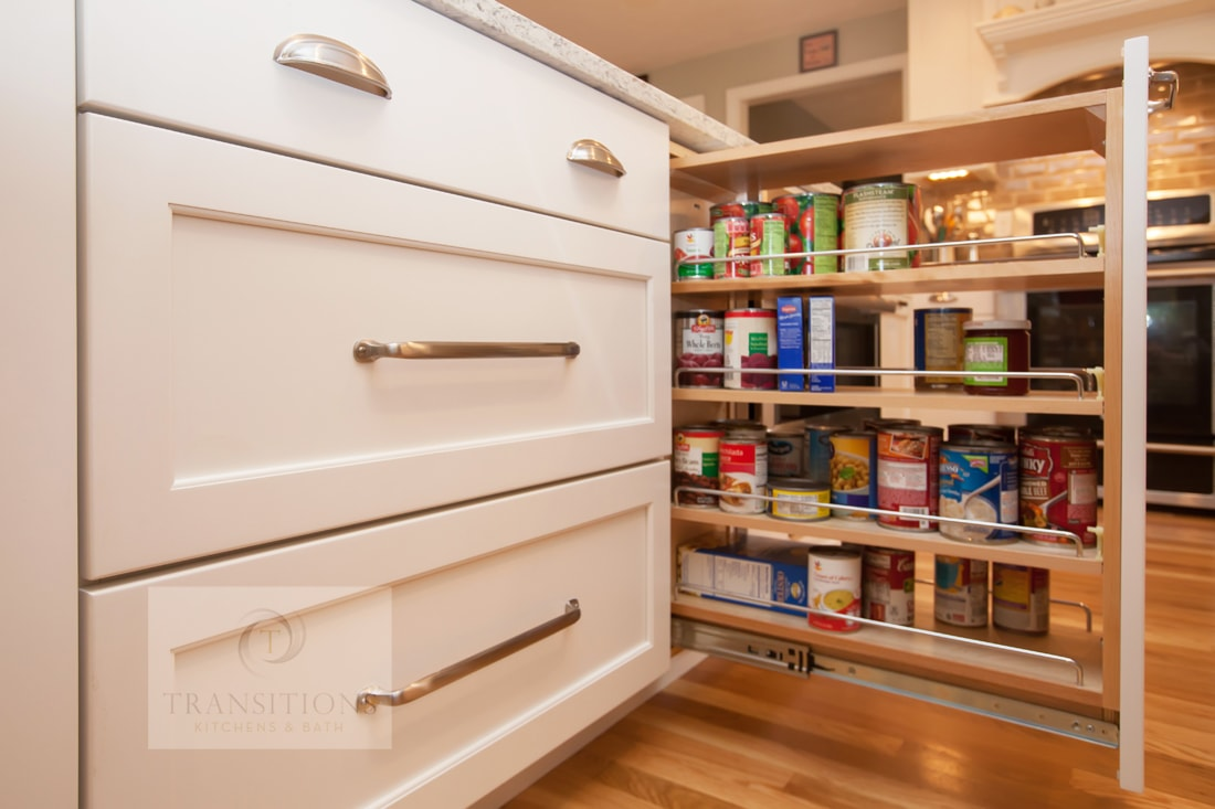 narrow pull out spice storage